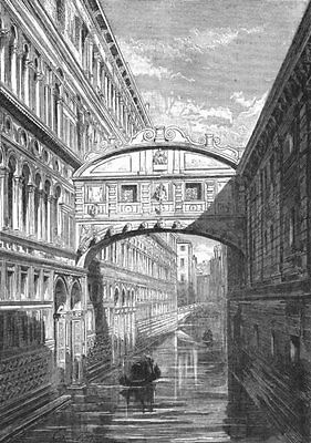 VENICE. The Bridge of Sighs 1880 old antique vintage print picture