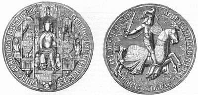 DECORATIVE. Great Seal of Henry IV 1845 old antique vintage print picture