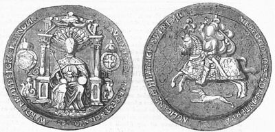 DECORATIVE. Great seal of Edward VI 1845 old antique vintage print picture