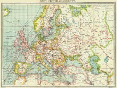 EUROPE. Europe. Industries and Communications 1907 old antique map plan chart