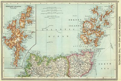 SCOTLAND. Northern with Orkneys; map of Shetland Islands 1907 old antique