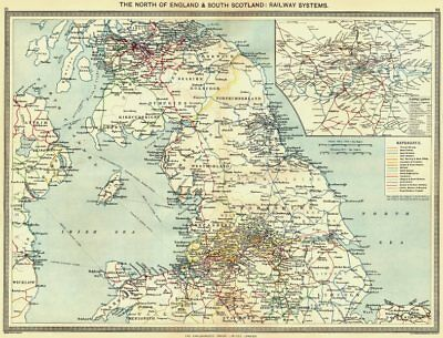 UK. North of England & south Scotland. Railway Systems; map London 1907