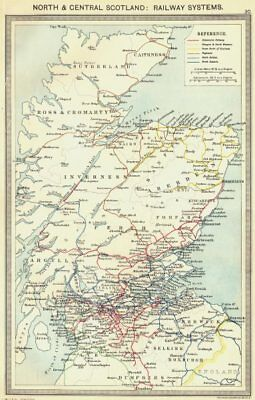 SCOTLAND. North and Central Scotland. Railway Systems 1907 old antique map