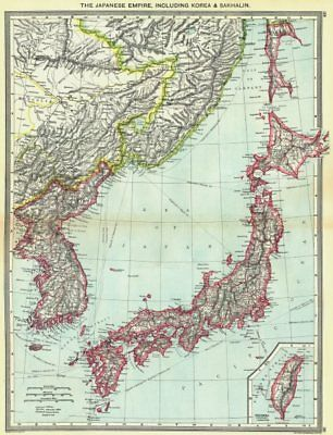 JAPAN. Japanese Empire, including Korea & Sakhalin; map of Formosa Taiwan 1907