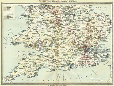 ENGLAND. The South of England. Railway systems 1907 old antique map plan chart