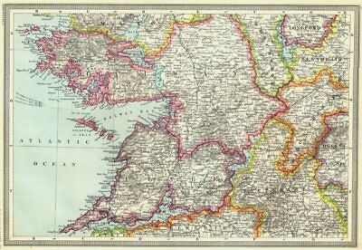 IRELAND. Galway and the West of Ireland 1907 old antique map plan chart