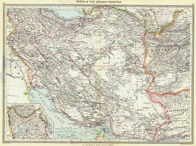 IRAN. Iran and the Afghan Frontier; Inset map of Azerbaijan 1907 old
