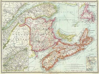 CANADA. Maritime Provinces; Newfoundland; Montreal to Quebec; Halifax 1907 map