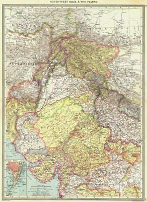INDIA. North-West India and The Pamirs; Inset map of Mumbai 1907 old
