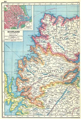 SCOTTISH HIGHLANDS.Sutherland Ross & Cromarty Inverness-shire.Aberdeen 1920 map
