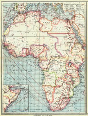 AFRICA. Industries & Communications; Horn of 1907 old antique map plan chart