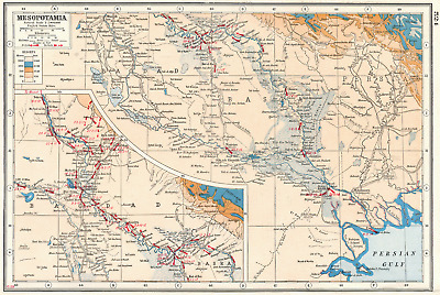 IRAQ.Mesopotamia;Inset Baghdad. First World War 1 battle lines 1915-17 1920 map