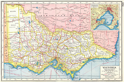 VICTORIA. Australia;Inset plan of Melbourne and Port Philip 1920 old map