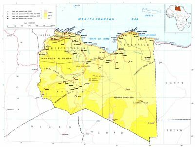 LIBYA. Libya; Libyan Arab republic 1973 old vintage map plan chart