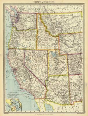 USA. Western United States; Inset map of San Francisco 1907 old antique
