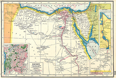 EGYPT. inset Cairo & Suez canal . HARMSWORTH 1920 old vintage map plan chart