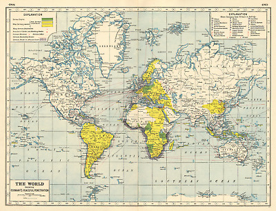 """GERMAN COLONIES.showing possessions,ambitions & """"Peaceful Penetration"""" 1920 map"""