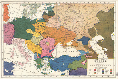 EUROPE.Central & Eastern Europe (Nationalities). HARMSWORTH 1920 old map