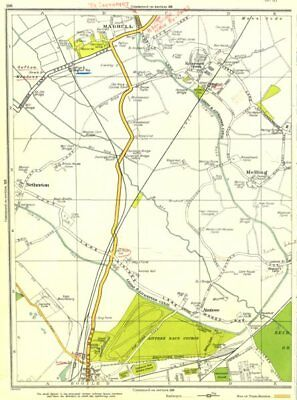 LANCS.Bootle,Maghull,Melling,Netherton,Aintree,Kennessee Green 1935 old map
