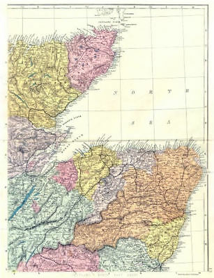 SCOTLAND North East. Moray Firth Aberdeen Elgin Caithness Banff. Bacon 1895 map