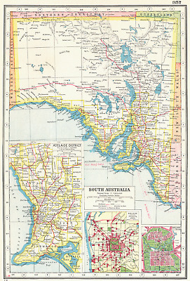 SOUTH AUSTRALIA.  Inset plans of Adelaide District environs & city 1920 map