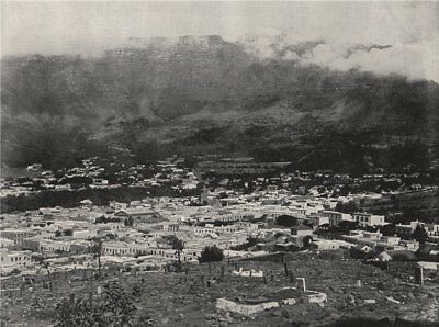 CAPE TOWN. General view. Table Mountain wreathed in vapour. South Africa 1895