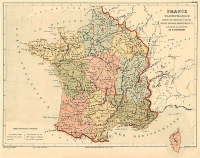 FRANCE CLIMATE Climatology showing limits of crops/agricultural regions 1880 map