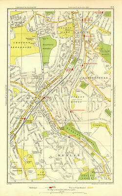 PURLEY COULSDON. South Croydon Kenley Sanderstead Roundshaw Woodcote 1937 map
