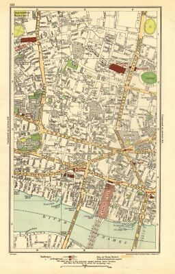 LONDON. City. Barbican, Moorgate, Bank, Cannon Street 1923 old vintage map