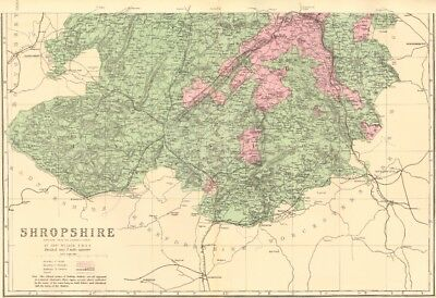 SHROPSHIRE (South). Antique county map by GW BACON 1883 old chart