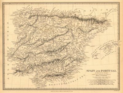 IBERIA. Spain and Portugal showing provinces. SDUK 1848 old antique map chart