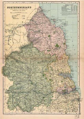 NORTHUMBERLAND. Showing Parliamentary divisions,boroughs & parks.BACON 1901 map