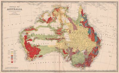 Large 'GEOLOGICAL MAP OF AUSTRALIA' by WILKINSON for GARRAN 1888 old
