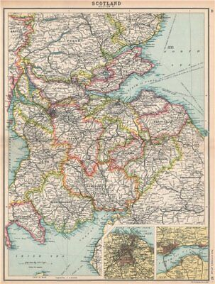 SCOTLAND SE. Borders Dumfries/Galloway Fife Lanark. Edinburgh, Dundee 1912 map