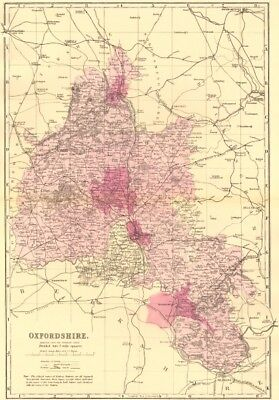 OXFORDSHIRE. Antique county map by GW BACON 1883 old plan chart