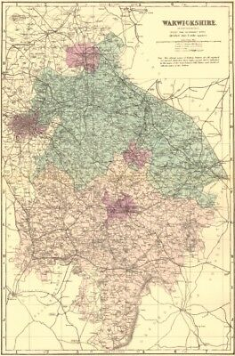 WARWICKSHIRE. Antique county map by GW BACON 1883 old plan chart