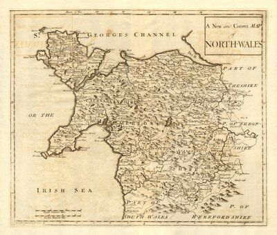NORTH WALES. by ROBERT MORDEN from Camden's Britannia 1772 old antique map