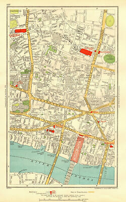 LONDON. City. Barbican Moorgate Bank Cannon Street 1937 old vintage map chart