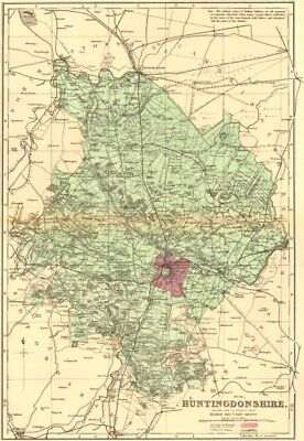 HUNTINGDONSHIRE. Antique county map by GW BACON 1883 old chart