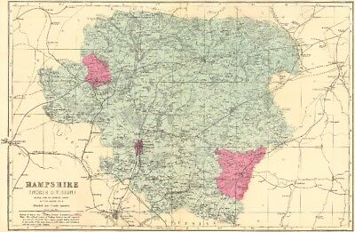 HAMPSHIRE (North). Antique county map by GW BACON 1883 old chart