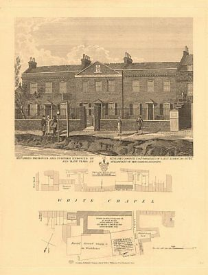 WHITECHAPEL ROAD. Whitechapel Society School Workhouse Almshouses 1834 old map