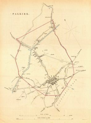 FALKIRK borough/town plan. REFORM ACT. Bainsford Grahamstown. Scotland 1832 map