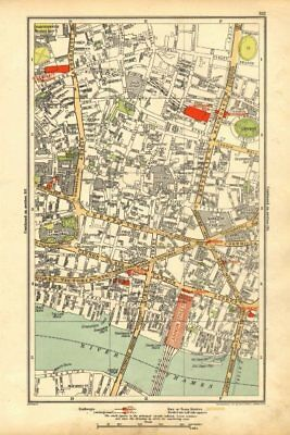 LONDON. City. Barbican, Moorgate, Bank, Cannon Street 1928 old vintage map