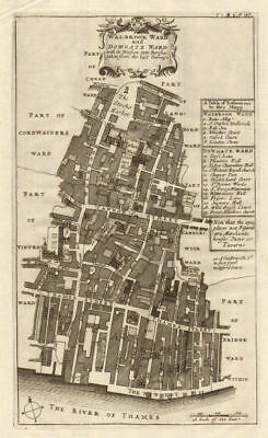 Walbrook & Dowgate Wards. Cannon Street. City of London. STOW/STRYPE 1720 map