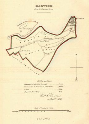 HARWICH borough/town plan for the REFORM ACT. Essex. DAWSON 1832 old map