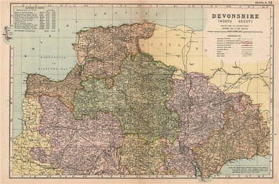 DEVONSHIRE (NORTH). Parliamentary divisions. Parks. Devon. BACON 1904 old map