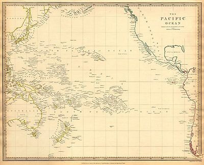 PACIFIC OCEAN. Australiasia Polynesia Oceania Sandwich Islands. SDUK 1844 map