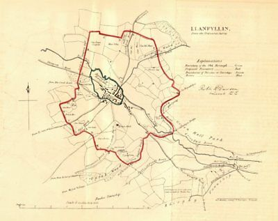 LLANFYLLIN borough/town plan for the REFORM ACT. Wales. DAWSON 1832 old map