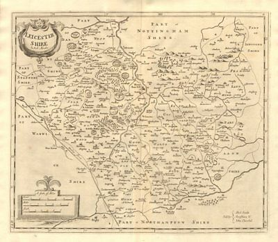 LEICESTERSHIRE. by ROBERT MORDEN from Camden's Britannia 1772 old antique map