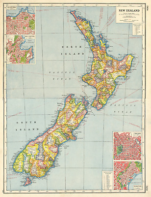 NEW ZEALAND. Counties. Auckland Wellington Christchurch Dunedin plans 1920 map